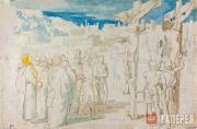 А.А. ИВАНОВ. Воин пронзает копьем тело умершего на кресте Христа