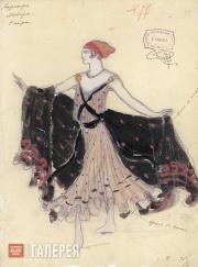 "Dyachkov Vasily. Sketch of a woman's costume for Adolphe Adam's ballet ""Le Corsa"