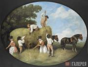 George Stubbs. Painted enamel hay-making scene on an earthenware plaque. 1795