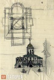 Sketch of the Church of St. Alexius in Tsarskoye Selo. Initial version. Façade,