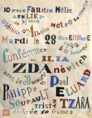 Iliazd (Ilia Zdanevich). Original poster mock-up for Russian avant-garde confere