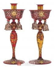 Candlesticks with Decorative Bells and Images of Magen David