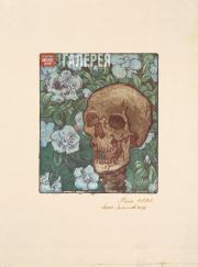 Yakunchikova Maria. Death and Flowers [A Skull on a Green Background with Blue F