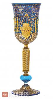 Kiddush Glass with Image of Ner Tamid