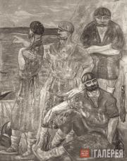 Rukavishnikov Mitrofan. Dockhands Resting. 1913-1920