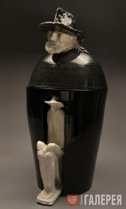 Granchi Andrea. Vase-canopa with the author's effigy on the lid, with white anim