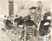 """Korovin Konstantin. Artists at a """"Drawing Evening"""" at Vasily Polenov's Home with"""