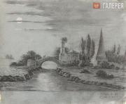 Эдуард Тетбу де Мариньи. Ночной пейзаж. 1825