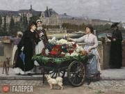 Firmin-Girard François-Marie. The Flower Seller on the Pont Royal with the Louvr