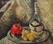 Lang Yevgenia. Still-life with a Bottle of Chianti. 1940s