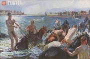 Plastov Arkady. Bathing the Horses. 1938