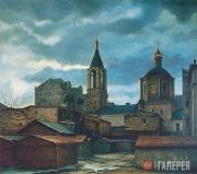 В. Дементьев. Облачный день. Московский дворик. 1972–1976