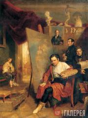 Golicke Wilhelm August. The artist's studio. 1832