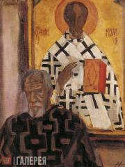 Andronov Nikolai. Self-Portrait in the museum. 1986–1996