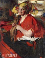 Arkhipov Abram. Peasant Woman with Red Shawl. 1920s