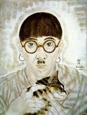 Tsuguharu Foujita. Self-portrait with a Cat. 1928