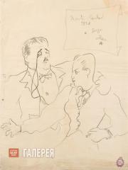 Jean COCTEAU. Portrait of Diaghilev and Lifar. 1928