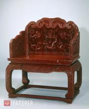 Carved Red Lacquer Throne with Nine-dragon Design Lacquerware