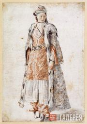 Jean-Etienne Liotard. A Lady of Constantinople, Wearing Bath Sandals, at the Ent