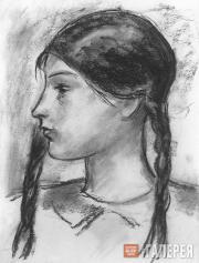 Chernyshev Nikolai. Girl with Plaits. 1928