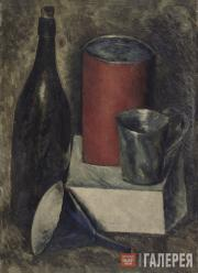 Chernyshev Nikolai. Still-life with Red Bucket and Bottle. 1919