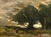 Corot Jean Baptist Camille. Gust of Wind. 1864–1873