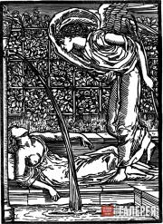 Edward Burne-Jones and William Morris. Cupid's First Sight of Psyche