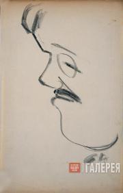 Larionov Mikhail. Profile portrait of Sergei Diaghilev. 1915-1916