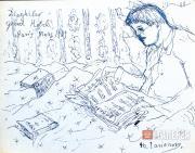Larionov Mikhail. Sergei Diaghilev with the Score. 1940s
