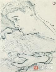 Larionov Mikhail. Sergei Diaghilev with a Newspaper. 1930s