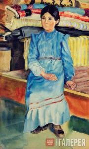 Devletkildeyev Kasim. Bashkir Girl in a Blue Dress. 1928