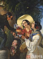 Scotti Mikhail. Italian Scene (Flowers for the Madonna). 1841