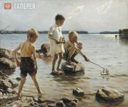 Albert EDELFELT. Boys Playing on the Shore. 1884