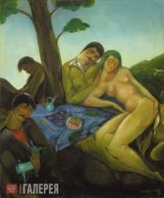 Gudiashvili Lado. Drinking-bout under the Tree (Drinking-bout with a Woman). 192