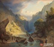 Григорий Гагарин. Переправа горцев через реку. 1840-е