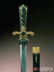 Johann Melchior DINGLINGER. Hunting Knife with Sheath from the Emerald Garniture