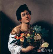 Caravaggio (Michelangelo Merisi da Caravaggio). A Boy with a Basket of Fruit. 15