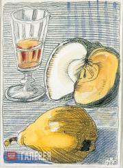 Dmitry MITROKHIN. Peach, Apple and Liqueur-glass. 1965