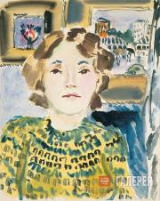 Mavrina Tatyana. Self-Portrait with Pictures in the Background. 1939