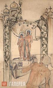 Polenova Yelena. The Icon with Two Saints (Princes Boris and Gleb). 1895-1896