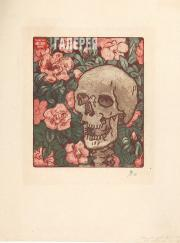 Yakunchikova Maria. Death and Flowers [A Skull on a Dark Green Background with P