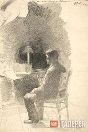 Levitan Isaaс. Working on a Croquis. 1884