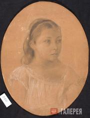 Levitan Isaaс. Portrait of Lena Nenarokova. 1880