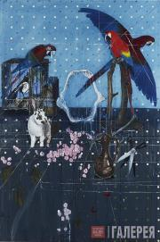 Hirst Damien. Three Parrots with Rabbit and Scissors. 2010