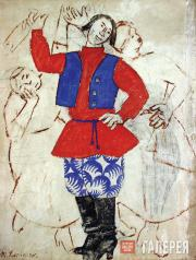 """Larionov Mikhail. """"Round Dance"""". Sketch of a costume for the ballet """"Russian Fai"""
