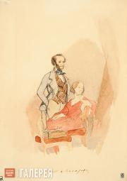 Makarov Ivan. Ivan Aivazovsky with his First Wife, Yulia Graves