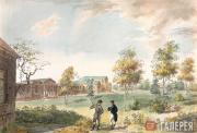 И.А.ИВАНОВ. Дом графа А.К. Разумовского со стороны парка. Начало 1800-х
