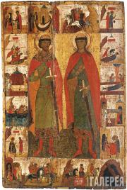 Sts. Boris and Gleb, with Scenes from Their Lives. Second half of the 14th centu