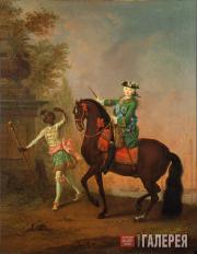 Georg Christoph GROOTH. Portrait of Elizabeth Petrovna on Horseback Accompanied