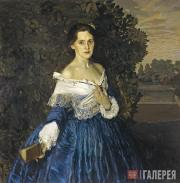 Somov Konstantin. Lady in a Blue Dress. Portrait of Yelizaveta Martynova (1868-1